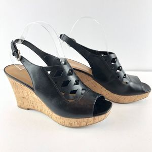 Franco Sarto Cait Black Wedge Sandals